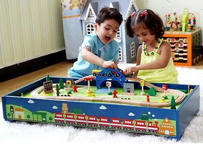 Kid Gift Educational Pretend Toy Wooden Table Top Free Standing Train Set 60pcs