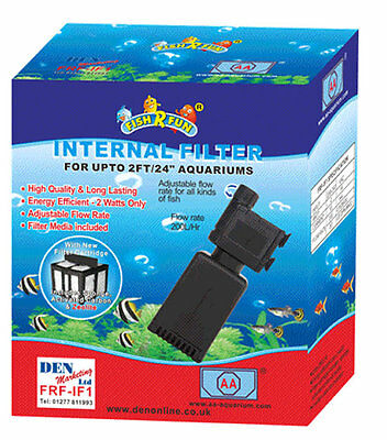 Mini Internal Aquarium Small Fish Tank Filter 200l/Hr Tropical Coldwater