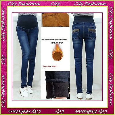 Winter Thermal Skinny Maternity Jeans Thick Pregnancy Trousers Size 10 12 14 16