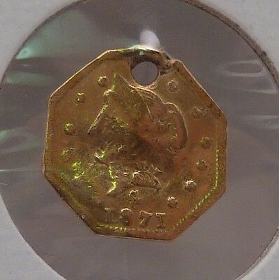1871 1/2 Dollar Octagonal California Gold (Holed & Bent)