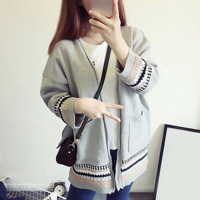 Pregnant Women Cardigan Loose Comfy 3/4 Sleeve Maternity Sweater Knit Outwear