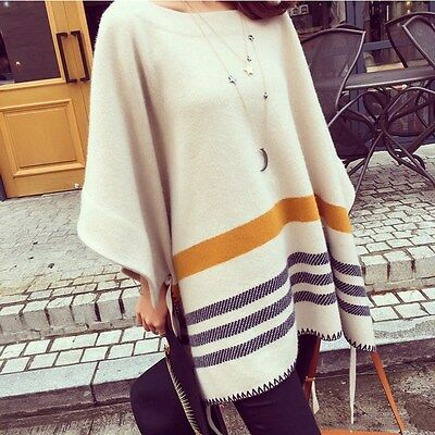 HOT Pregnant Women Pullover Classic Striped Maternity Loose Cape Fashion Poncho