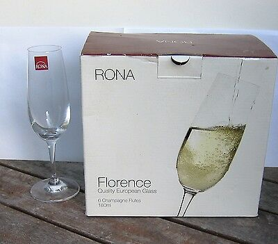 BOXED SET OF 'RONA' Florence 6 X 180ML CHAMPAGNE FLUTES MADE IN SLOVAKIA - NEW