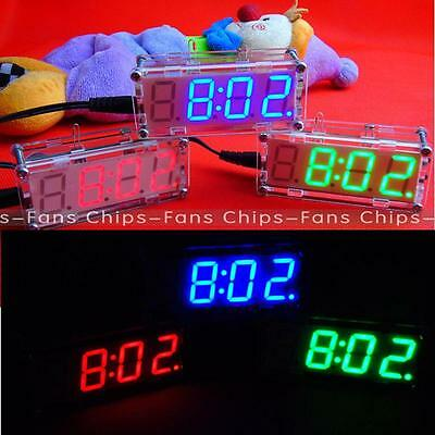 New Red/Blue/Green DIY kit LED Electronic Clock microcontroller Time Thermometer