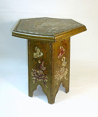 Extravagant Stool with Interior Compartments Wood Painted Brand Painting um 1900
