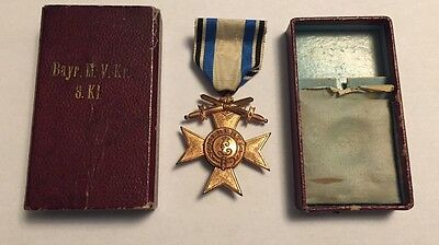 Germany WWI Bavaria Military Merit Cross Medal with Swords in Orignal Case