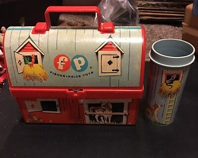 Vintage Fisher Price Toy Lunch Box Barn w/ Thermos 1962 Aurora NY (No Lid)