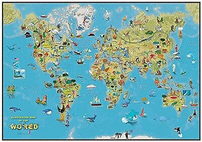 Maps International Kids Cartoon Map of the World