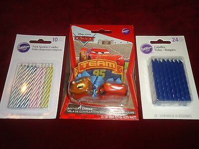 DISNEY PIXAR CARS Cake Topper Birthday Candle + Trick Sparkler & Blue Candles