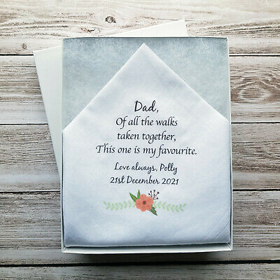 Father of the Bride Printed Mens Wedding Handkerchief. Father of the Bride Gift