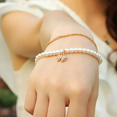 Womens Pearl New Multilayer Pendant Cuff Bow Bracelet Jewelry Gold Rhinestone