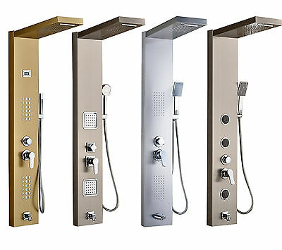 Brushed Nickel Wall Mount Bathroom Shower Column Jets Tub Faucet W/ Hand Shower