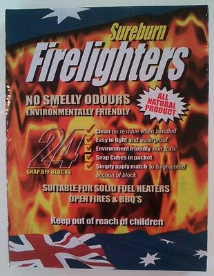 FIRELIGHTERS, ENVIRONMENTALLY FRIENDLY, WATERPROOF 8x24 PACK, BUY BULK AND SAVE!