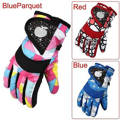 Winter Boys Girls Kids Outdoor Windproof Ski Snowboard Thick Warm Finger Gloves