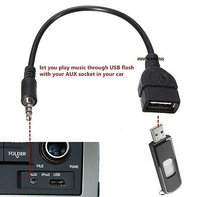 3.5mm Male AUX Audio Plug to USB 2.0 A Female Jack OTG Converter Lead Adapter