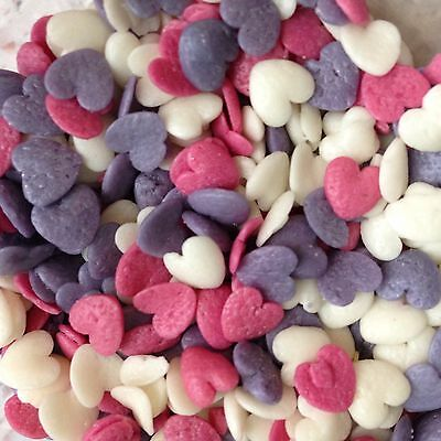 Edible Hearts Pink Purple & White Sprinkles Cake Cupcake Toppers Cake Decorating