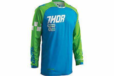 Thor Phase Ramble MX Motocross Jersey Blue Green Adult Small SALE!