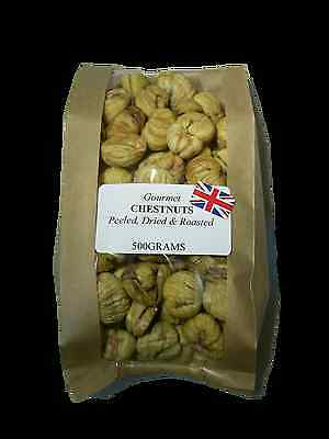 DRIED CHESTNUTS 500 Gram bag of Organic English peeled, light roasted & Dried