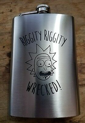 rick and morty themed flask