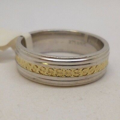 Unisex sterling silver (925) with 9ct Gold design wedding band ring, Size S