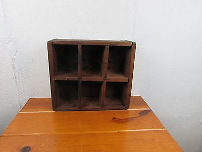 Antique Box Divided Primitive Cut Nails Organizer Great Look 6 Compartments