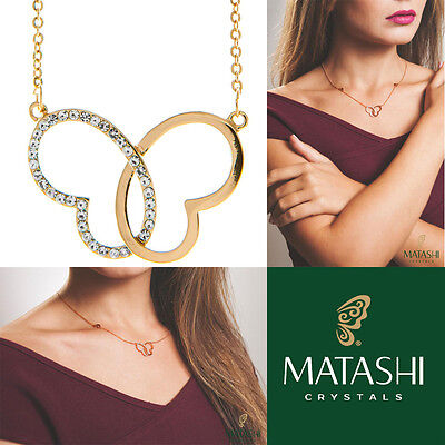 "16/"" Rose Gold Plated Necklace w// Sea Inspired Pendant w// Crystals by Matashi"
