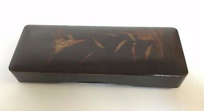 Antique Japanese Hand Painted Lacquer Box  W/ Sea Bird Decoration