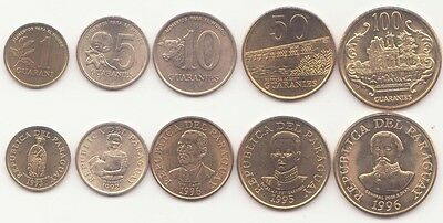 PARAGUAY, 1, 5, 10, 50, 100 Guaranies 1992-1996 XF-UNC, Set of 5 Coins