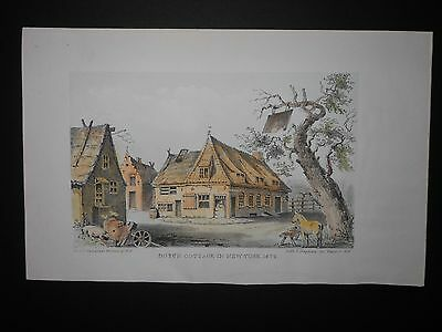 Dutch Cottage New York City 1679 Hand Color Engraving