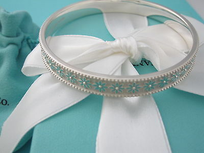New Tiffany & Co Silver Blue Enamel Daisy Bangle Bracelet Box Pouch Ribbon