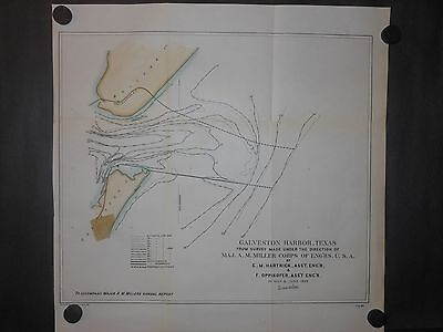 Galveston Harbor Texas 1893 Hand Colored Map Jetty Depths