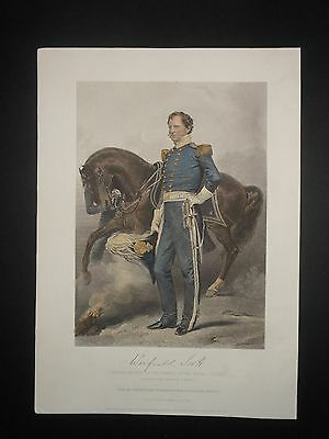 General Winfield Scott Mexican American War Era 1858 Antique H/Color Engraving