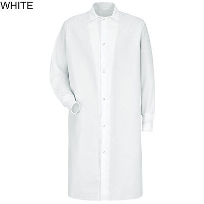 White lab coat gown with cuffs, Gripper-Front Pocketless by Red Kap