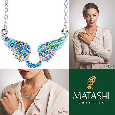 "16"" Rhodium Plated Necklace w/ Angel Wings & Ocean Blue Crystals by Matashi"