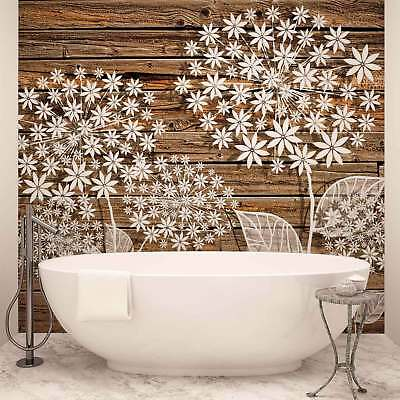 WALL MURAL PHOTO WALLPAPER XXL Flowers Wooden Board (3452WS)