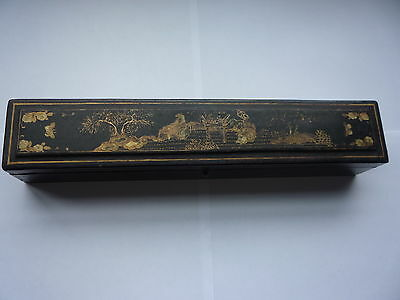 Antique Oriental Chinese Wooden Lacquer Fan Box with Hand Painted Interior