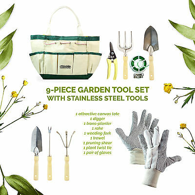 GardenHome ✪ 9 PIece pcs Garden Tools Stainless Steel Gloves Tote Set HG1914