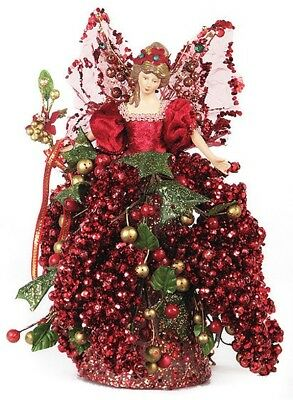 """10"""" Beautiful Tree Topper Mantel Berry Angel-Red/gold A01064"""