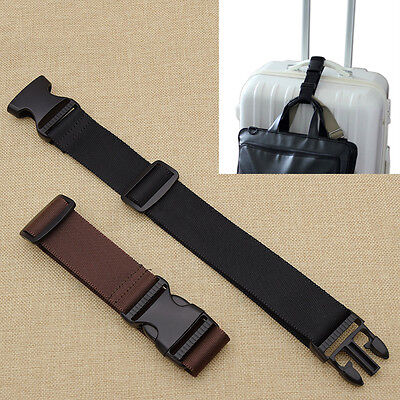 Travel Luggage Buckle Belt Nylon Strap Bag Attachment Portable Black Coffee 1pc
