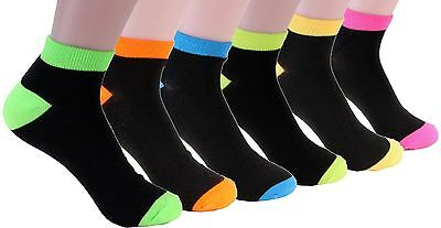 6-12 Pairs Women's Ankle Socks Solid Black Multi Color Girls Cotton Size 9-11