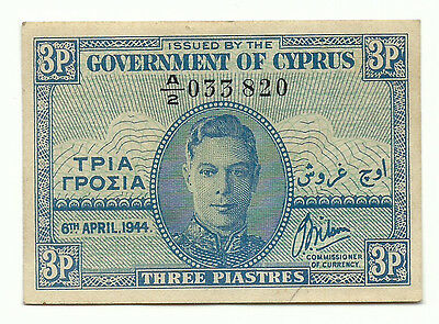 Cyprus Banknote 3 Piastres 1944 P28a British Rule King George VI AU-UNC Free S&H