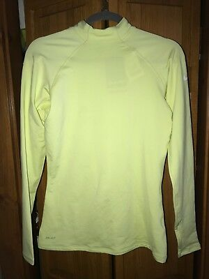 New Nike Women's Pro Hyperwarm  Training Top Light Yellow 53739-333  M
