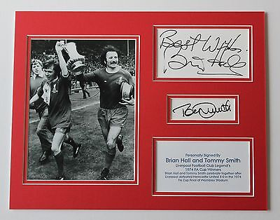 Brian Hall & Tommy Smith Liverpool 1974 HAND SIGNED Autograph Photo Mount COA