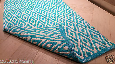COTTON RUG AQUA Multi purpose DHURRIE Hand Made Flatweave Runner 70x180 Bath