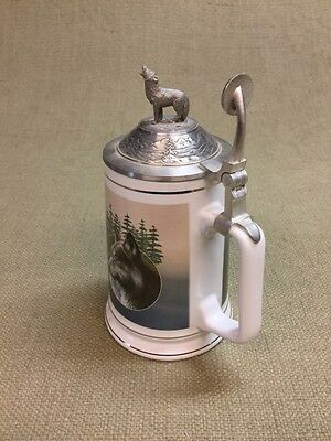 Longton Crown Call of the Wild Stein Tankard by Kevin Daniel Timber Wolf