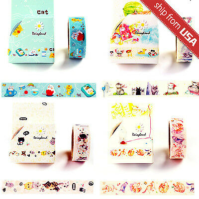 Lot 4pcs Cartoon Cat Paper Washi Tape Sticker DIY Diary Scrapbook Cute Kawaii US