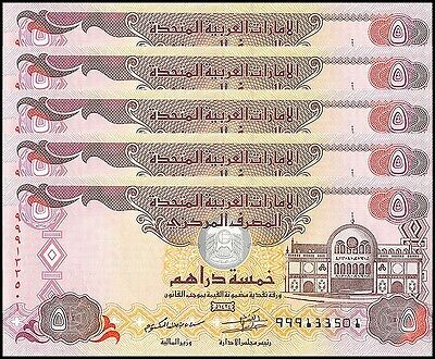 United Arab Emirates - UAE 5 Dirhams X 5 Pieces - PCS,2013,P-26b,UNC,REPLACEMENT