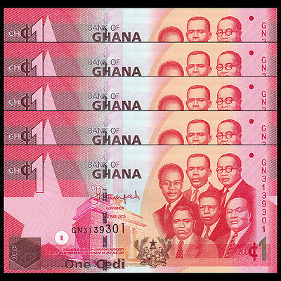 Lot 5 PCS, Ghana 1 Cedi, 2015, P -37 NEW, UNC