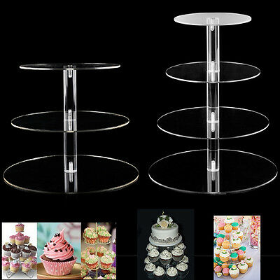 3/4 Tier Acrylic Round Cake Stand Birthday Wedding Party Cupcake Tower Display