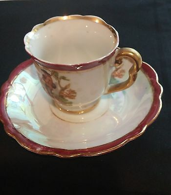 Vintage Japanese China Tea Cup & Saucer. A Couple In The Garden With Gold Trim